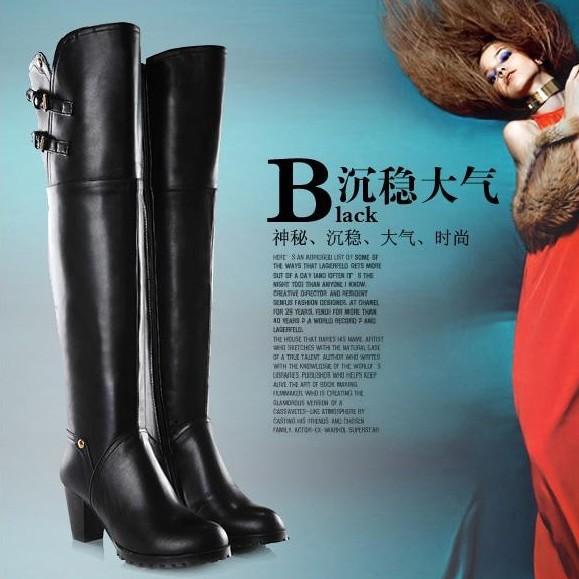 2013 new warm winter female Genuine leather high knee boots England heel inside Wool Knight