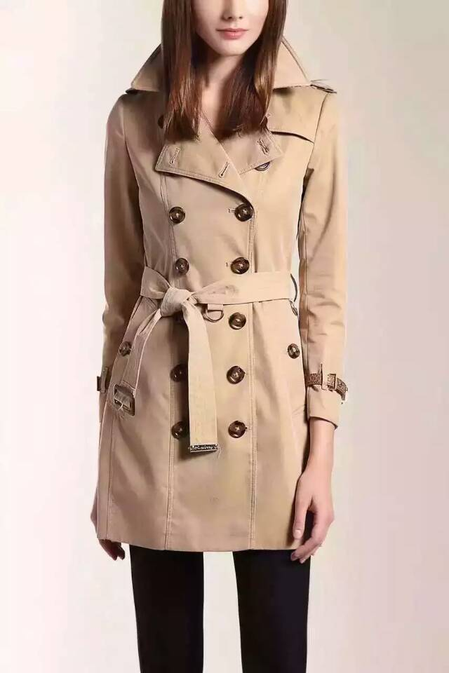 Hot Classic Women Fashion British Long Style Elegant Trench Coat/Designer real leather Belted cuff Double Breasted Trench coat