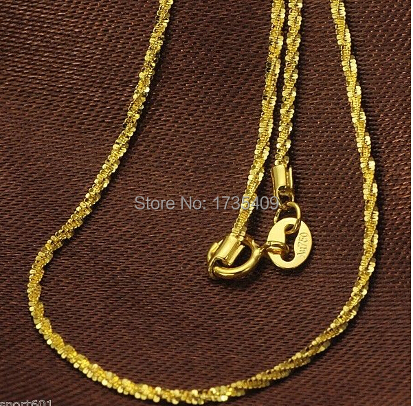 Solid AU750 18K Yellow Gold Necklace / Italian Shining Star Chain / 2.35g 16 L(China (Mainland))