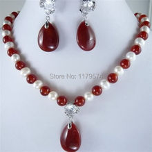 Hot free Shipping new Fashion White Pearl And Red Jade Necklace Earring Set hp015(China (Mainland))