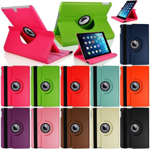 360 Rotating Stand Flip Smart PU Leather Case Cover for Case Apple iPad Air 1st Generation (2013) Cover w/Screen Film Stylus Pen(China (Mainland))