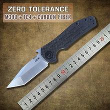 2015 el más nuevo ZT CNC de fibra de carbono y Titanium de la manija M390 hoja de acero que acampa cuchillo plegable del EDC del bolsillo cuchillos ZT0620CF SHPPING libre