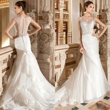 WSY043 wedding dress 2015 hot sale sweetangel white wedding dress v-neck sheath organza custon made popular wedding dresses(China (Mainland))