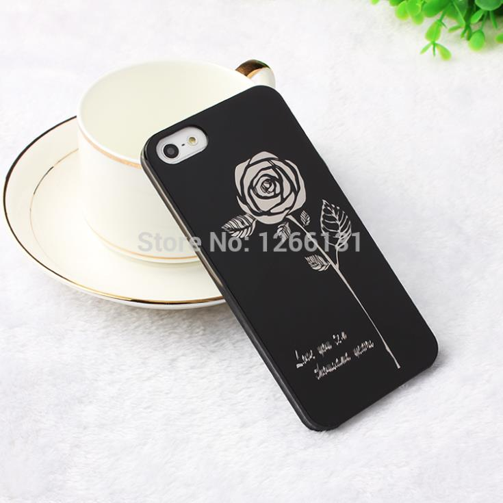 Hot Selling Cool Black PC Back Cover Skin Housing Fashion White Rose Pattern Hard Cases Apple iphone5 5S 5G shell  -  TH-Store store