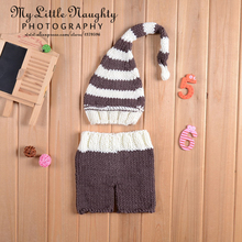 2015 Newborn infant photo props crochet baby clothes set white coffee striped knitted hat +pants nuevo atrezzo fotografia bebes(China (Mainland))