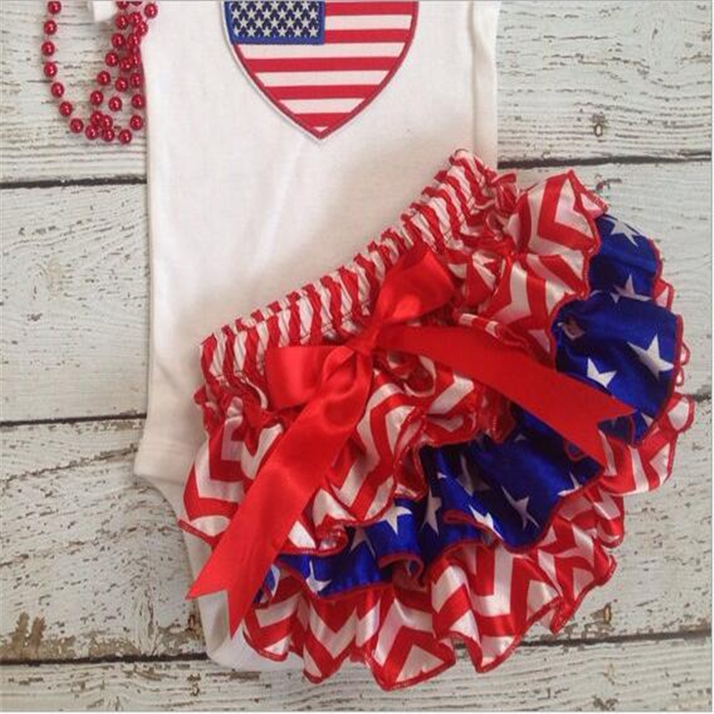 2016 Baby Fashion Girls Patriots Jersey Satin Ruffle Bloomers Infant Newborn Summer Shorts Diaper Cover for 4th of July(China (Mainland))