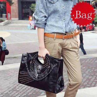 Free Shipping GK Korean Women PU Leather Rivet Skull Shoulder bag Handbag Tote BH22