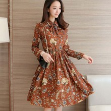 Buy NIJIUDING Floral A-Line Dress Newest 2017 Fashion Turn-down Collar Long Sleeve Women Vintage Spring Dresses Chiffon Dress for $13.75 in AliExpress store
