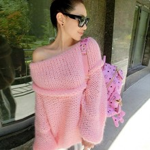 2015 New Women Retro Women Knitted Sweater Womens Jumpers Off Shoulder Pullover Long Sleeve Knitwear Winter Tops(China (Mainland))