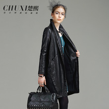 Chu Xi, the European high-end brand women's 2015 new winter long ladies leather PU leather coat loose woman