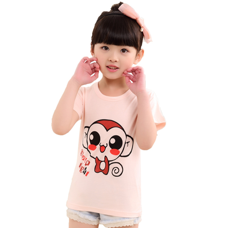 New 2016 Baby Girls Hello Kitty Short Sleeve T shirt Children Summer Clothes Kids T-shirt(China (Mainland))