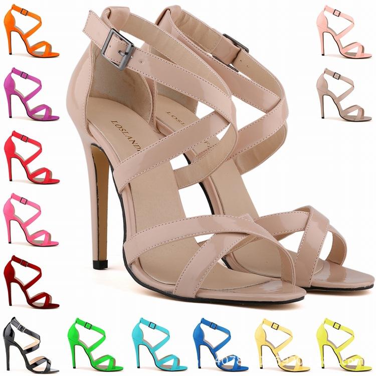 2015 Korean Ladies summer pumps stiletto Patent Leather Sandals sexy women ladies high heels shoes
