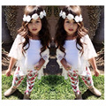 Summer Latest Kids Floral Suits Children Casual 3 piece Set Girls fifth sleeve cardigan top printing