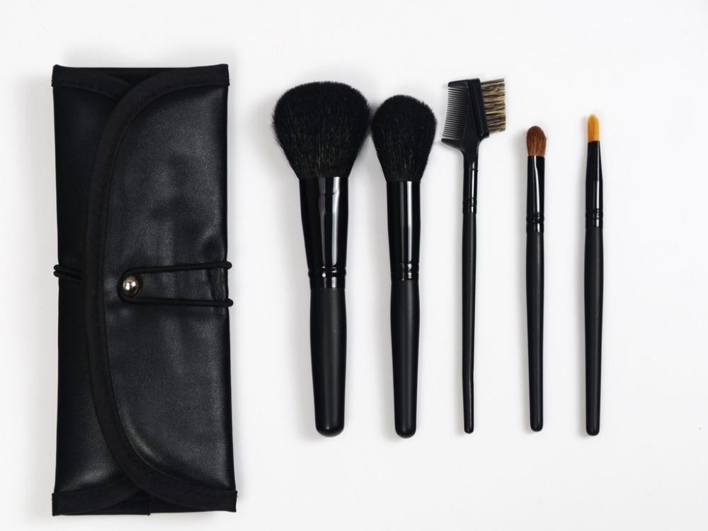 5pcs Premium goat Hair Professional Cosmetic Makeup Brushes Set Handle Powder Brush Eye Shadow Face Brushes kits wiith PU case(China (Mainland))