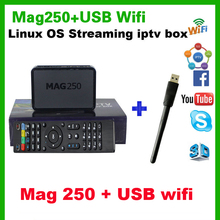 Best Linux IPTV box Mag 250 iptv set top box + USB wifi Media player connector / Cable Not include IPTV account mag 250