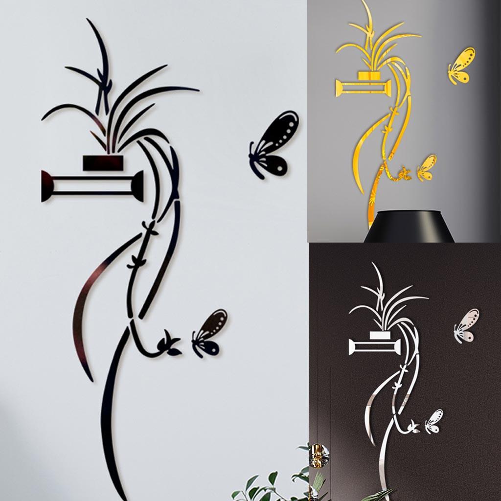 3D Diy Gold Flower Shape Acrylic Wall Sticker Modern Stickers Decoration