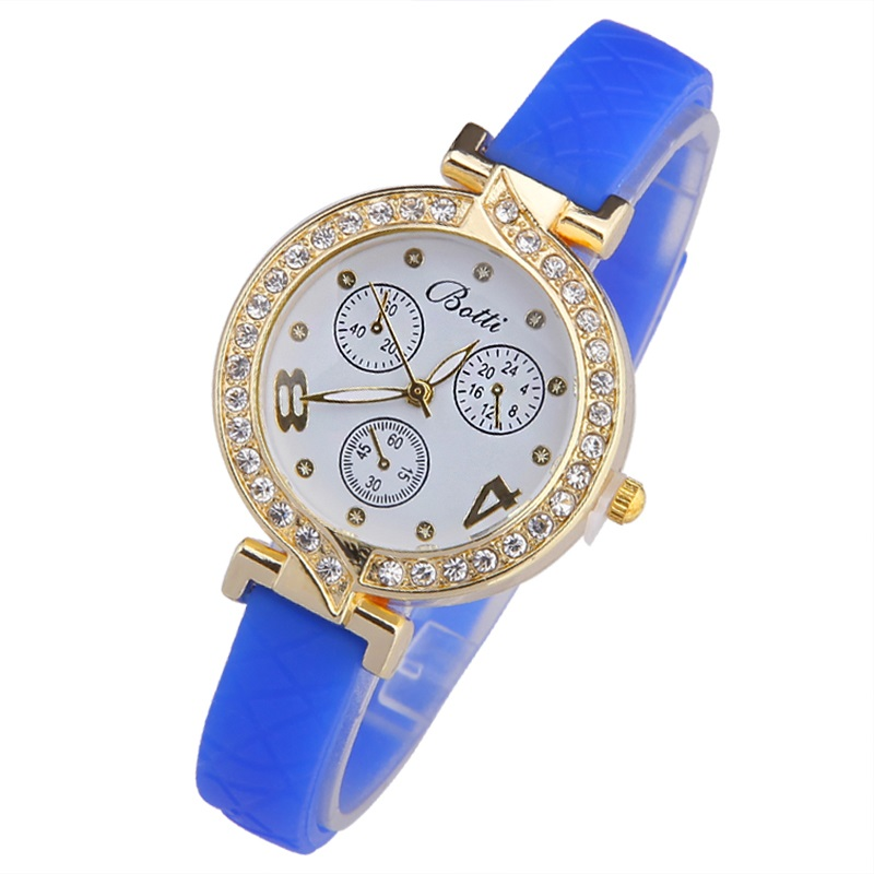 TOP Silicone watch Women Rhinestone Crystal Big Eight Four Stars Rubber Band Dial Analog Quartz WristWatch woman Girl luxury(China (Mainland))