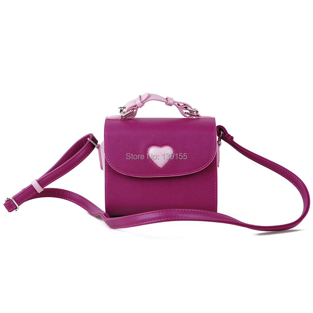 Camera Leather Bag Heart Bag Purple Color Camera Bag for Fujifilm Instax Mini 7s 8 25 50s Instant Camera Free Shipping(China (Mainland))