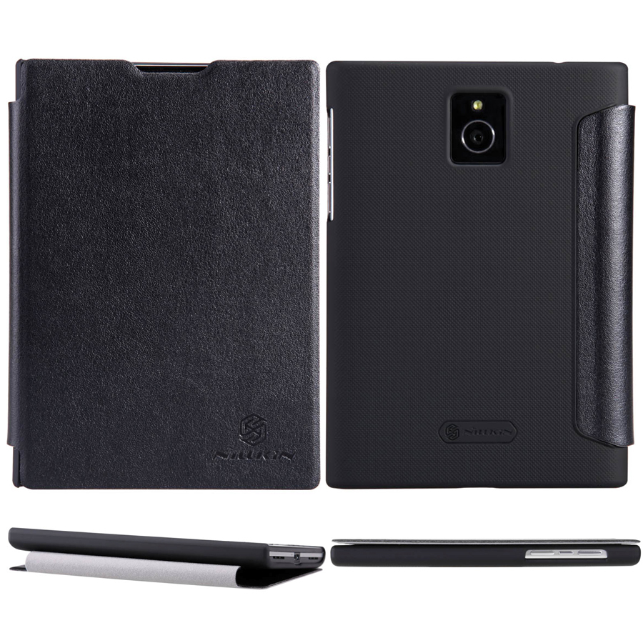 Nillkin Black PU Leather Back Matte Plastic Skin Case Cover For BlackBerry Passport Protector New free shipping(China (Mainland))