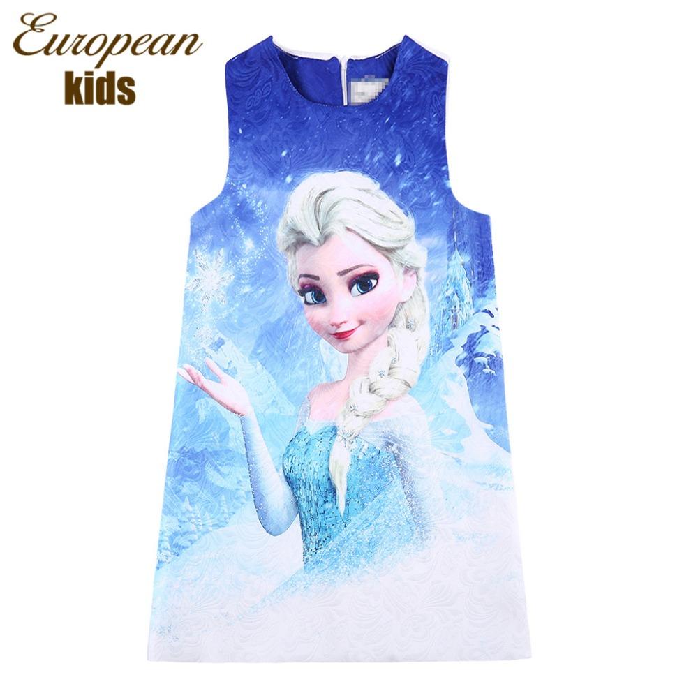 Girls Elsa Anna Dress Autumn Children Dress With Character Princess Costume Printable