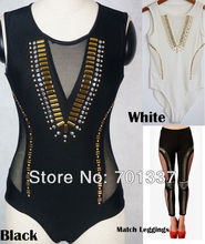 2 Colors Ladies Sexy Lingerie  Punk Overall Catsuit  Teddie Dress Club Dance Wear 7618