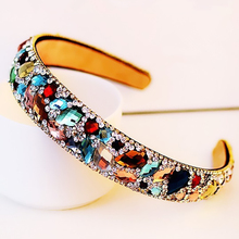 New 2016 Korean Hair Accessories Colorful Rhinestone Crystal Hairbands Women's Hair Jewelry HG227(China (Mainland))