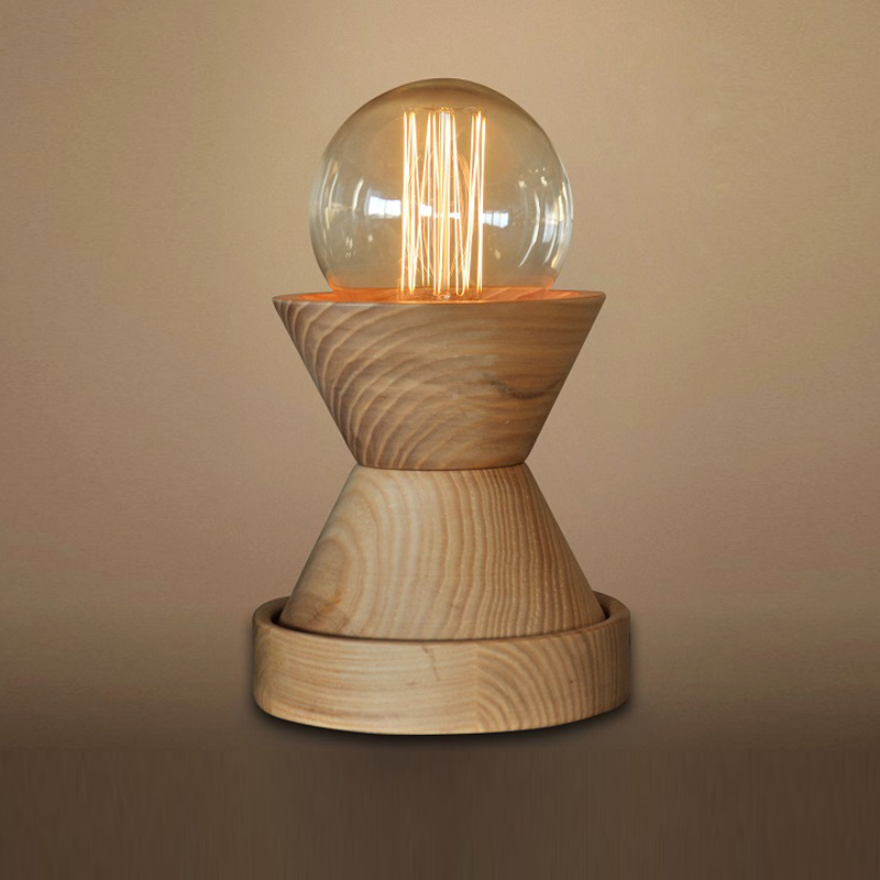 Modern Minimalist Desk Lamp Led E27 Solid Wood Table Lamp