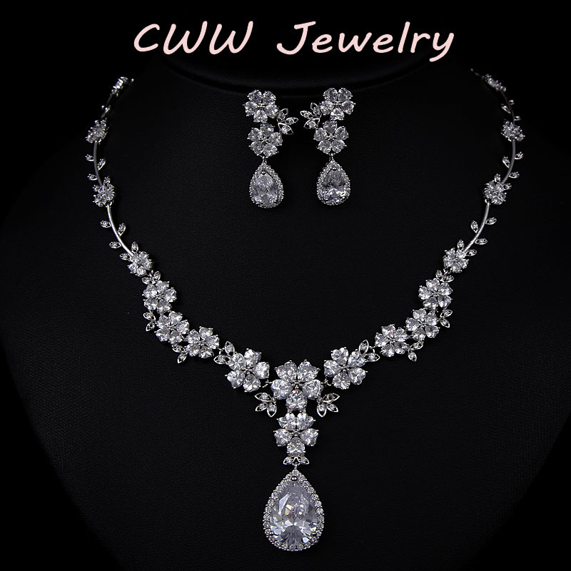 2017 New Fashion CZ Simulated Diamond Bridal Flower Necklace Earrings Cubic Zirconia Wedding Jewelry Sets Brides T108 - cwwzircons Jewellry Store store