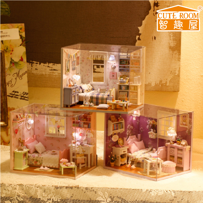 Dream House Furniture Dollhouse Handmade Wooden Doll House Diy Kit Miniature China Toy Doll Room