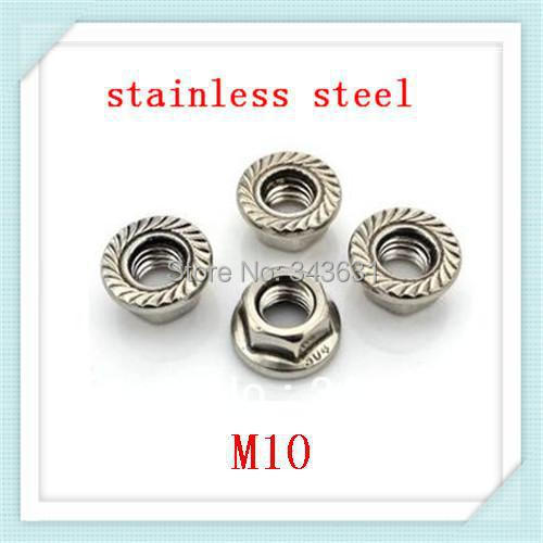 Freeing Shipping  DIN6923 M10  Stainless steel  Hex Flange Nuts (100pcs/lot)<br><br>Aliexpress