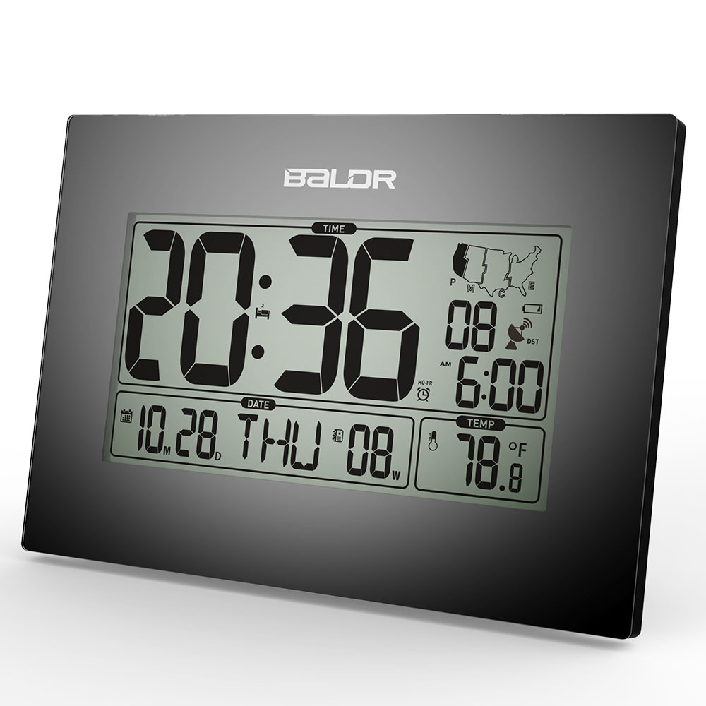 Baldr Stylish Modern Office Tabletop CLock, WWVB Atomic PMCE Time Zone Clocks, Calendar and Temperature Alarm Desk Clock(China (Mainland))