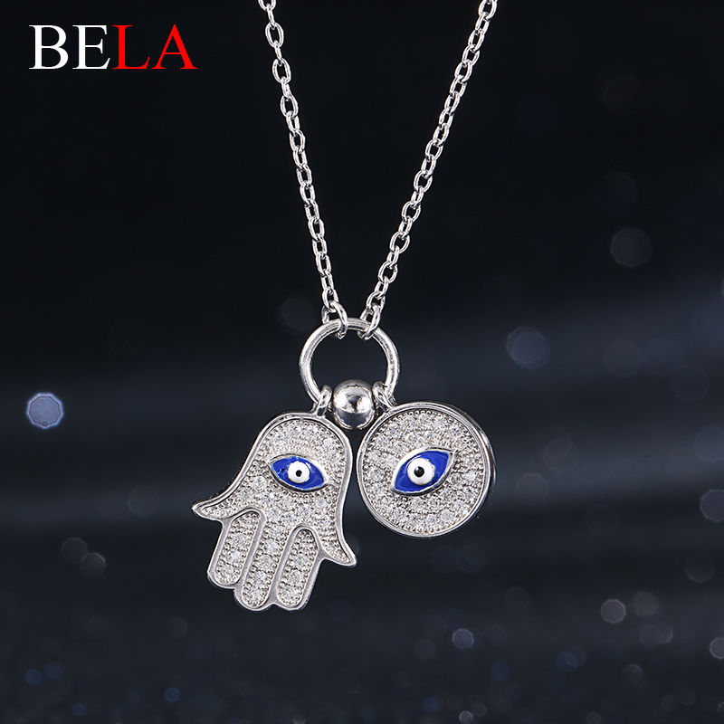 New Summer Collection 925 Sterling Silver Fine Jewelry Crystal Hamsa Hand & CZ Diamond Blue Evi Eye Pendant Necklace for Women(China (Mainland))
