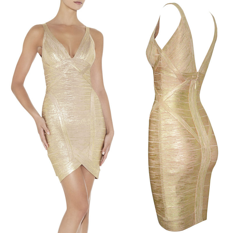 2015 NEW V-neck Gold Foiling Print  HL Bandage Dress Sexy Elegant  Celebrity BODYCON Party Dress   H-134Одежда и ак�е��уары<br><br><br>Aliexpress