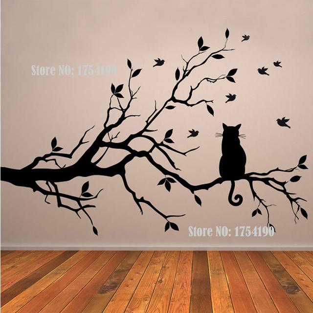 Tree Vinyl Wall Decal Adesivi Murali Glass Film Window Stickers Home Decoration Wall Art Cat On