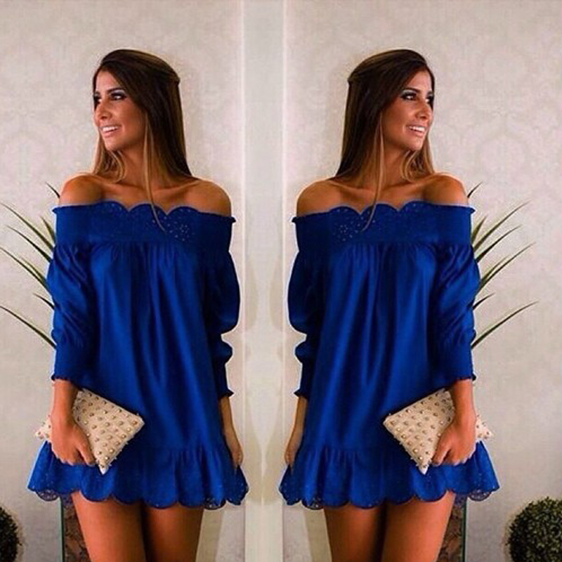 Sweet Boat Neck Blue Casual Party Dresses Ladies Plus Size Beach Summer Dress Sexy Blue Party