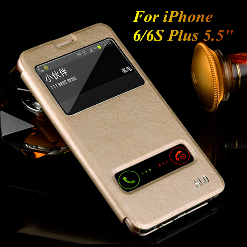 Luxury Genuine Leather Case iPhone 6 Plus 5.5 inch Ultra Thin Flip Stand Cover View Window Back 6S Inch - Shenzhen Yueyang Trading Co., LTD store