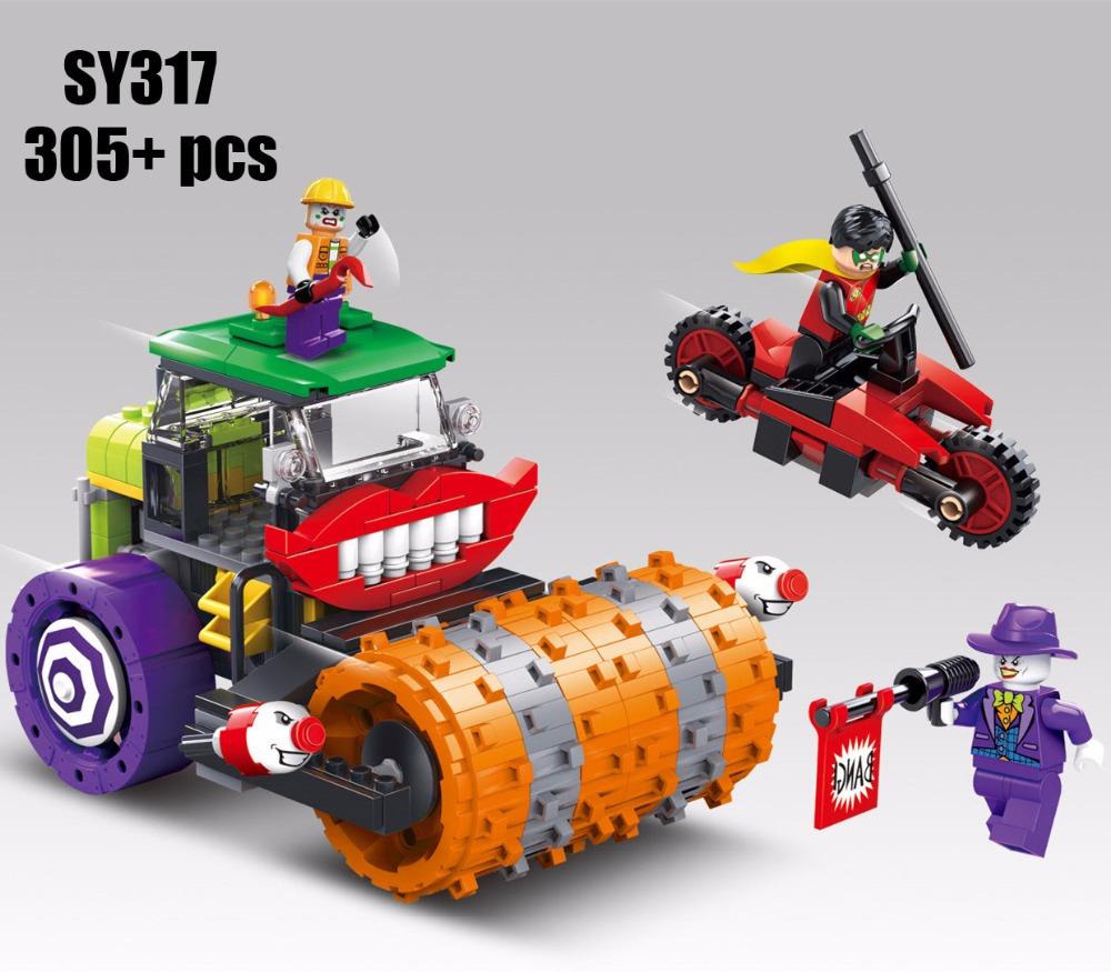 DC villain super heroes building block Steam roller assemblage bricks Robin Joker Henchman minifigures compatible with lego