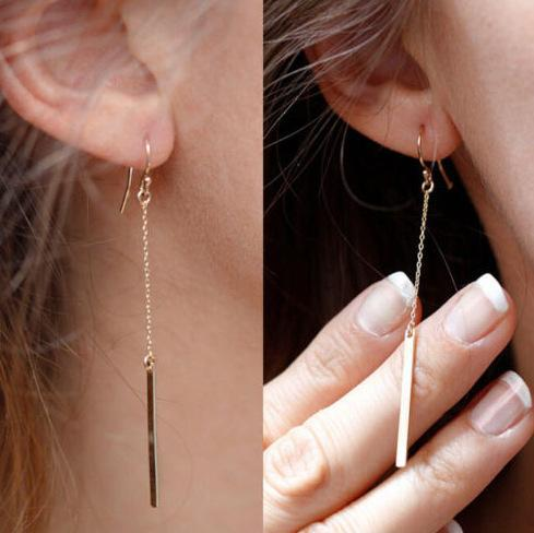 2015 Rushed Fine Jewelry Simple Summer Monsoon New Street Tassel Earrings A Metal Rod Style Double Sided Earring Malqe20150772(China (Mainland))
