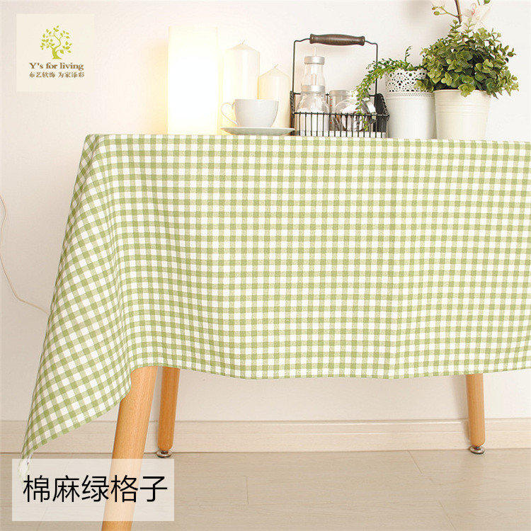 New Arrival Tablecloth Cotton+Linen Classic Green Plaid Dining Table Cloth 70*70cm 90*90cm 140*140cm 8 Sizes Can be customized(China (Mainland))