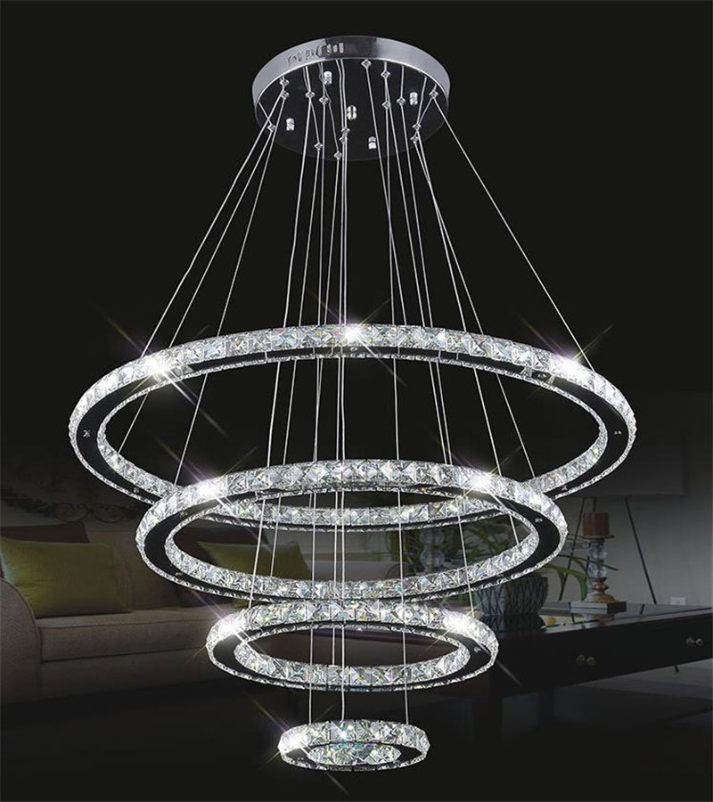 Modern led hanging chandeliers k9 crystal suspension for Suspension led exterieur
