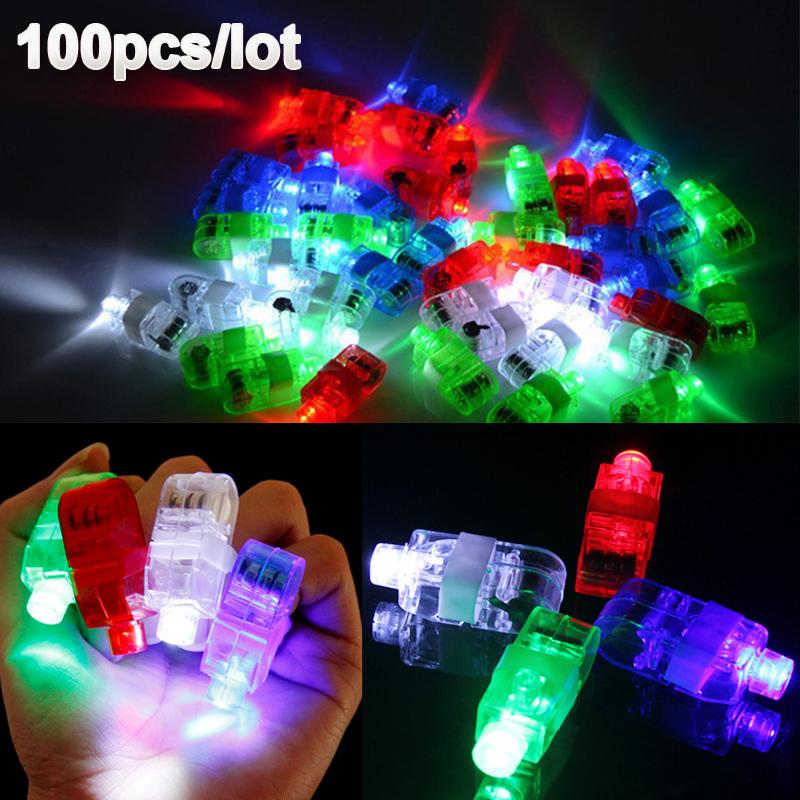 100 Pcs / Lot LED Finger Lights Glowing Dazzle Colour Laser Emitting Lamps Christmas Wedding Celebration Festival Party decor(China (Mainland))