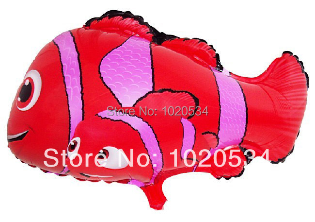 50pcs/lot 45*51cm clown fish helium balloon for children toys nemo fish balloons shaped marine organism animal mylar balloon(China (Mainland))
