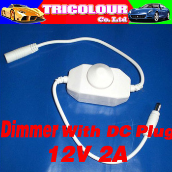 wholesale and retail 12V 2A manual switch Led Dimmer With DC Plug for Single Color Strip Lights light controller#C06026