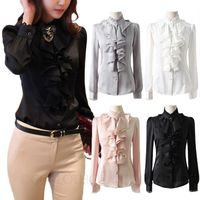 Free shipping brand New Women's White Chiffon Lace Stand Collar Ruffle Trim Front Top Shirt Blouse