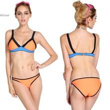 2014 New Summer Women/Lady Sexy Orange Swimwear Bandage brazilian Bikini Set push up Swimsuits Beachwear S,M,L,XL b4