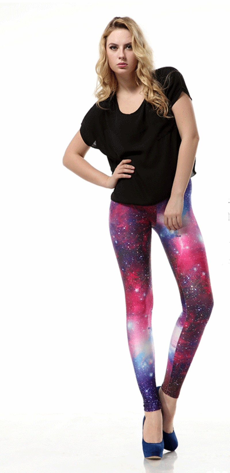 New Ladies High Elastic Big Yards Fashion Women Leggings Hot Galaxy Star Purple Slim Pencil Pants Fitness Casual Leggings