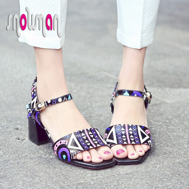 Genuine Leather Sandals Patch Color Ankle Strap Shoes Woman Hoof Med Heels Red Bottoms Sandals 2016 New Fashion Sandalias Mujer