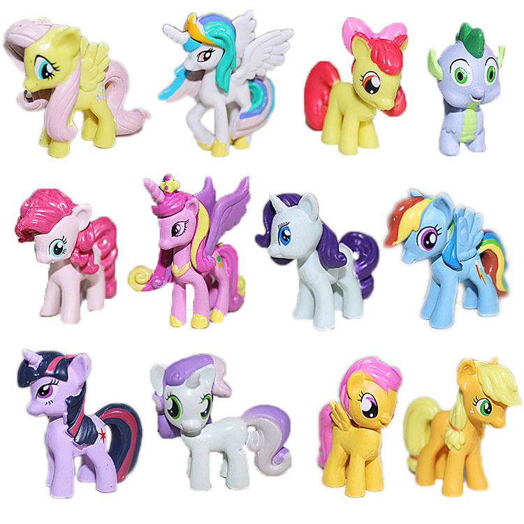 Original Small Pendant Dolls Happy Rainbow Horse Figure Little Horse Dolls Mixed Styles Kids Toys Movie Animal Dolls 12pcs/lot(China (Mainland))