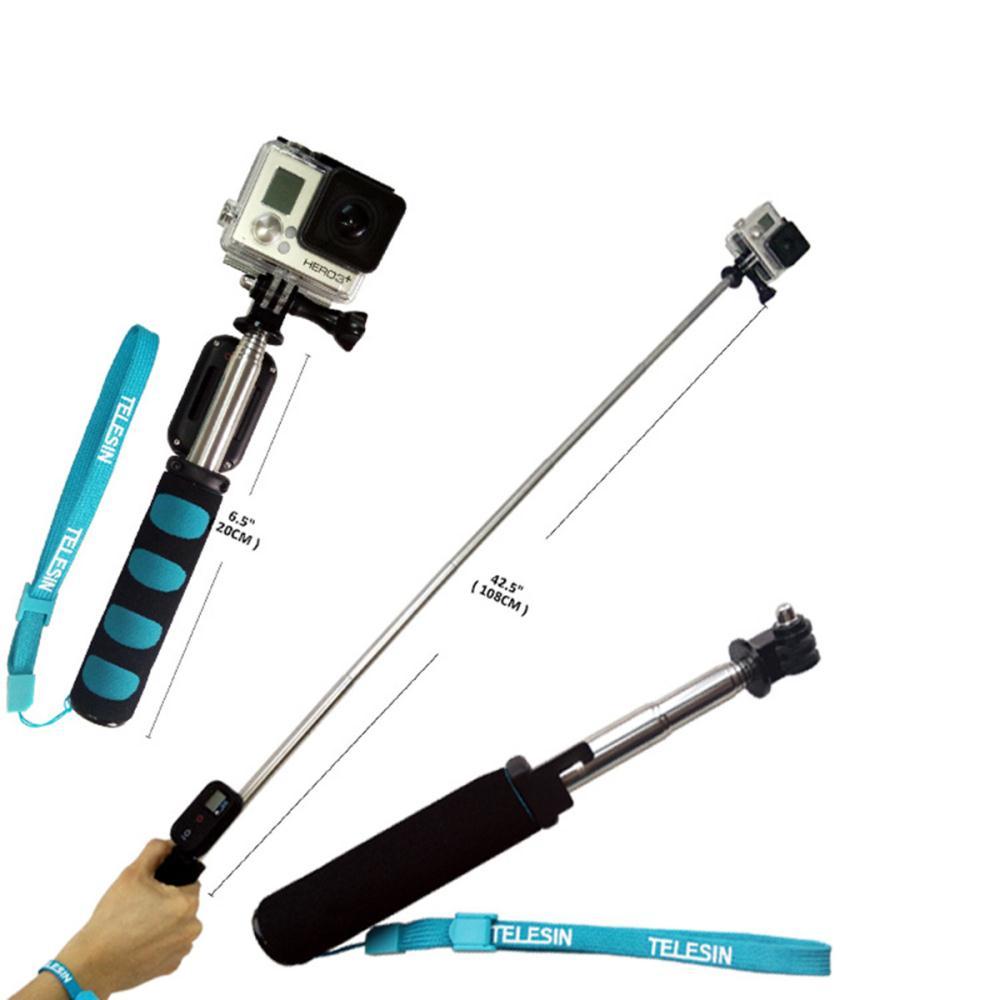 telescopic remote wifi selfie handheld monopod pole for gopro hero 3 3 4 os2. Black Bedroom Furniture Sets. Home Design Ideas