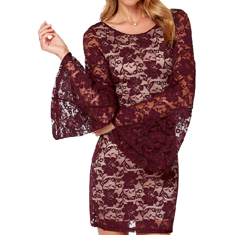 Free shipping!!!Lace Autumn and Winter Dresswomen fashion different size for choice Solid wine red Sold By PC(China (Mainland))
